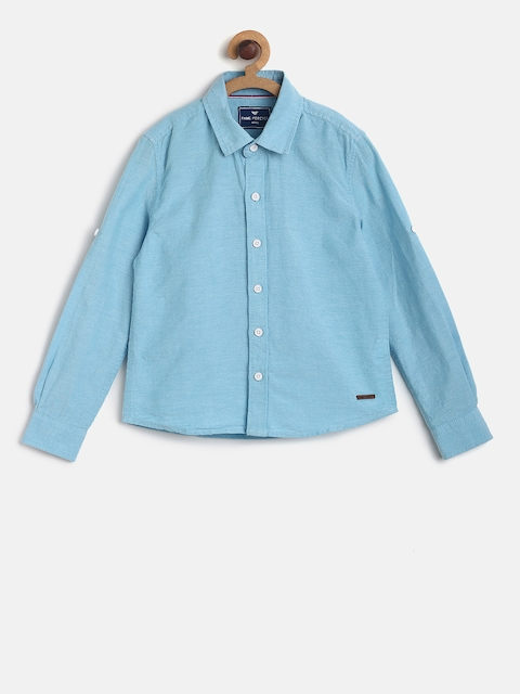 Fame Forever by Lifestyle Boys Blue Regular Fit Solid Casual Shirt