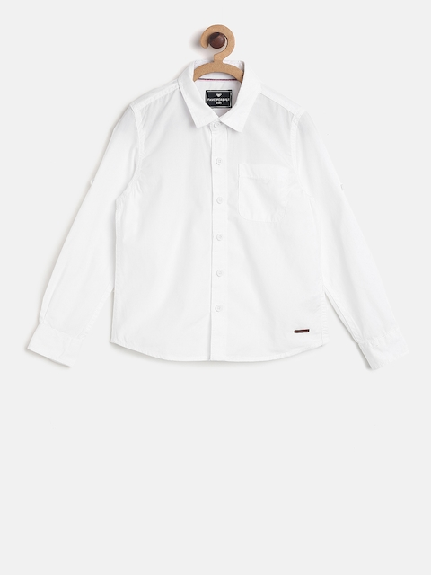 Fame Forever by Lifestyle Boys White Solid Casual Shirt