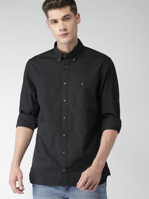 Tommy Hilfiger Men Black Smart Regular Fit Solid Casual Shirt
