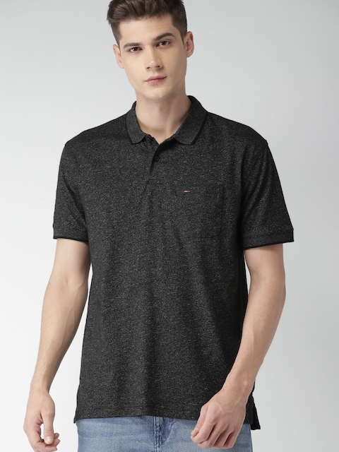 Tommy Hilfiger Men Black Solid Polo T-shirt