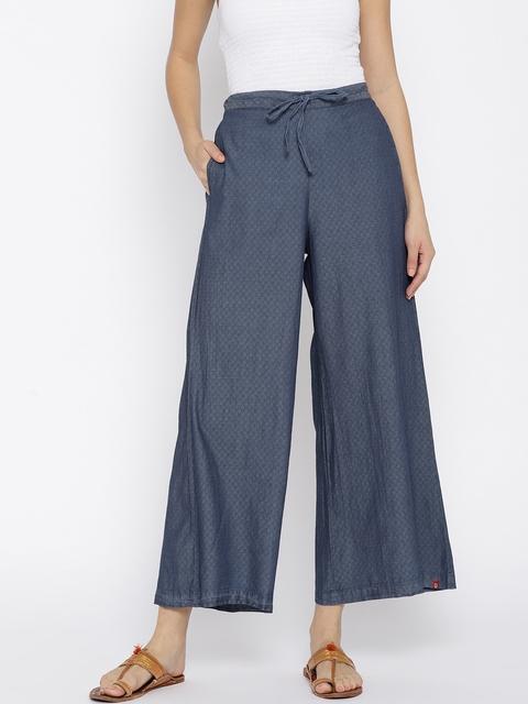 Biba Women Blue Self Design Wide Leg Palazzos