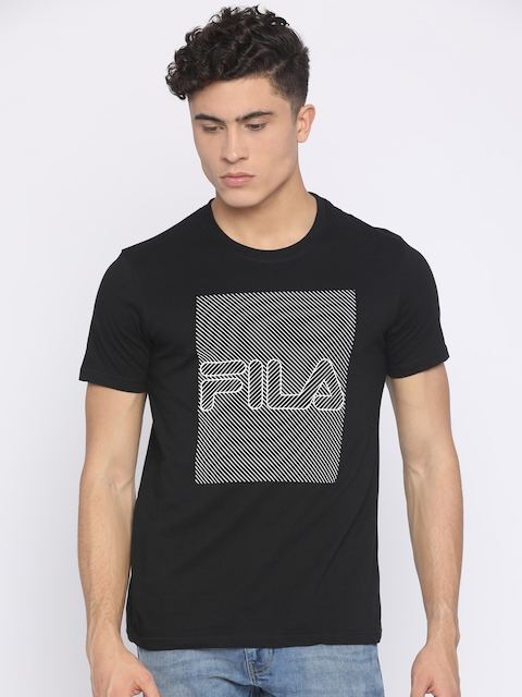FILA Men Black Printed Round Neck T-shirt