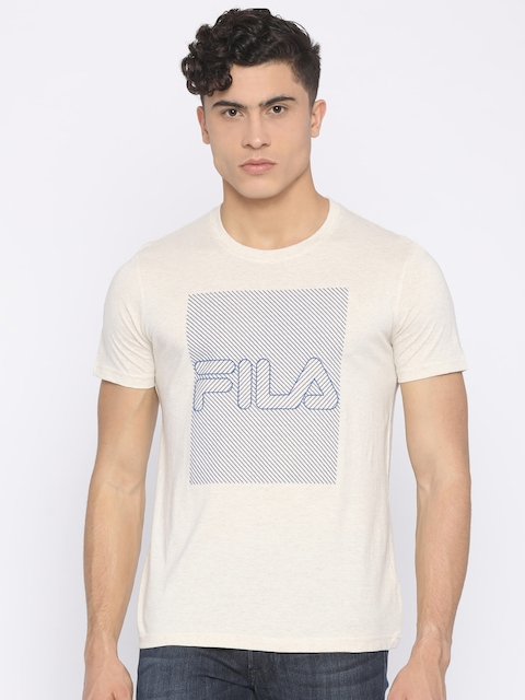 FILA Men Beige Printed Round Neck T-shirt