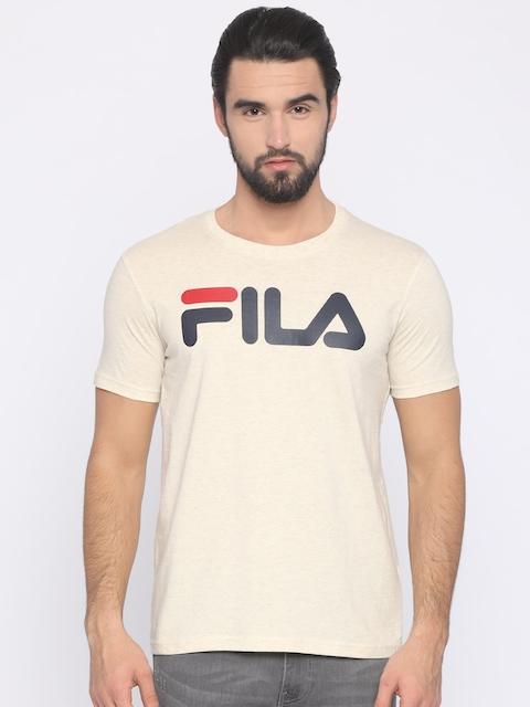 FILA Men Beige Printed Round Neck T-shirt