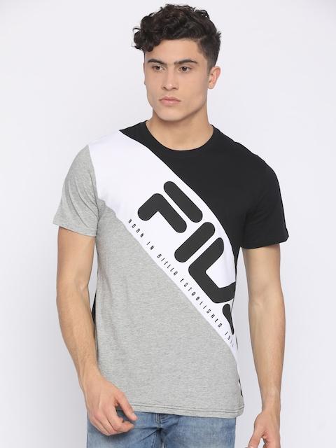 FILA Men Black Colourblocked Round Neck T-shirt
