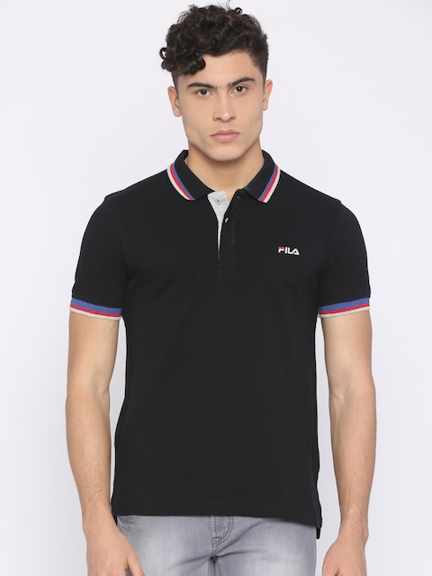 FILA Men Black Solid Polo Collar T-shirt