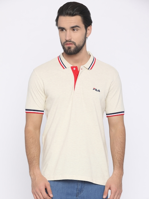 FILA Men Beige Solid Polo Collar T-shirt