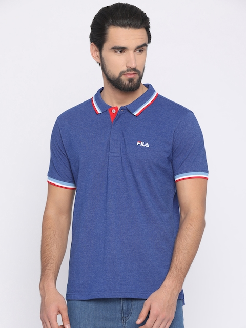 FILA Men Blue Solid Polo Collar T-shirt