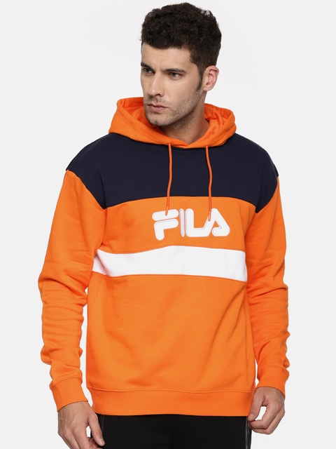 FILA Men Orange & Navy Colourblocked Hooded Sweatshirt