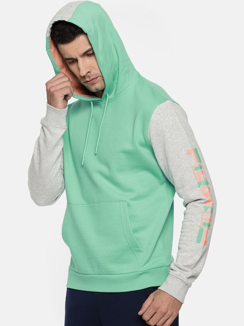 FILA Men Sea Green Solid Hooded Sweatshirt