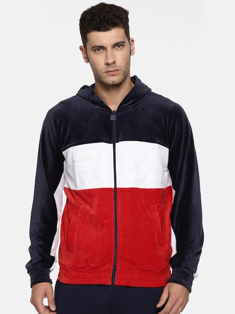 FILA Men Navy & Red Colourblocked Hooded Sweatshirt