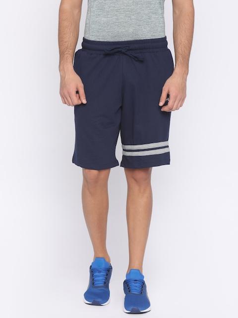 FILA Men Navy Blue Solid Regular Fit Regular Shorts