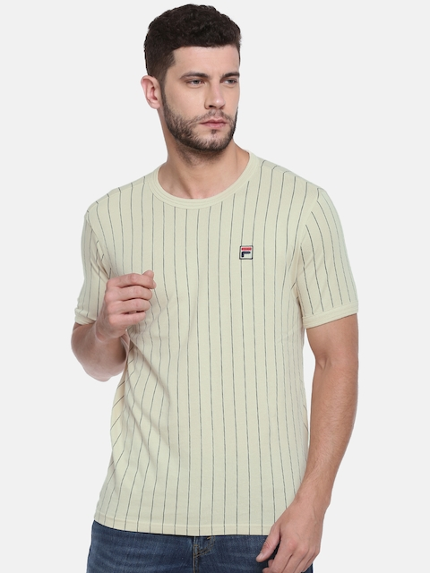 FILA Men Beige & Black Striped Round Neck T-shirt