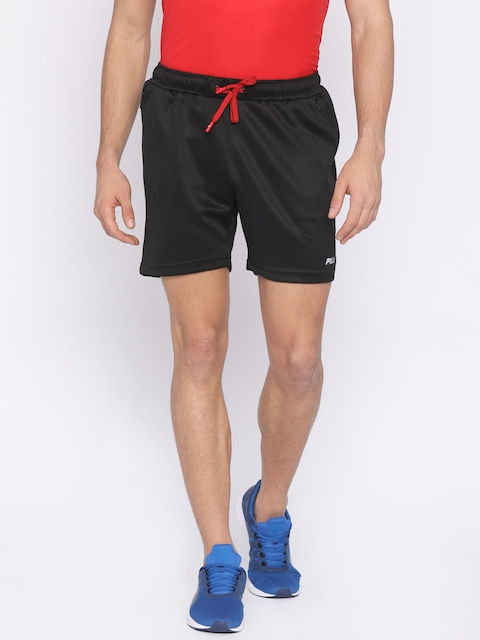 FILA Men Black Solid Regular Fit Sports Shorts