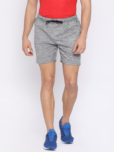FILA Men Grey Self-Design Regular Fit Sports Shorts