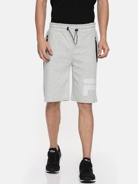FILA Men Grey Melange Solid Regular Fit Sports Shorts