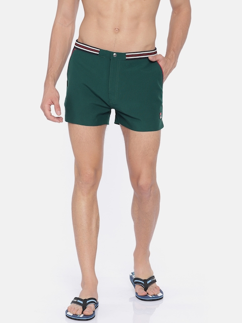 FILA Men Green Solid Regular Fit Sports Shorts