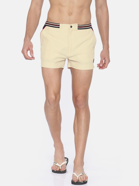 FILA Men Beige Solid Regular Fit Sports Shorts