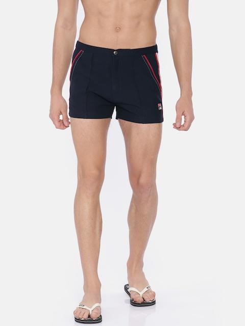 FILA Men Navy Blue Solid Regular Fit Sports Shorts