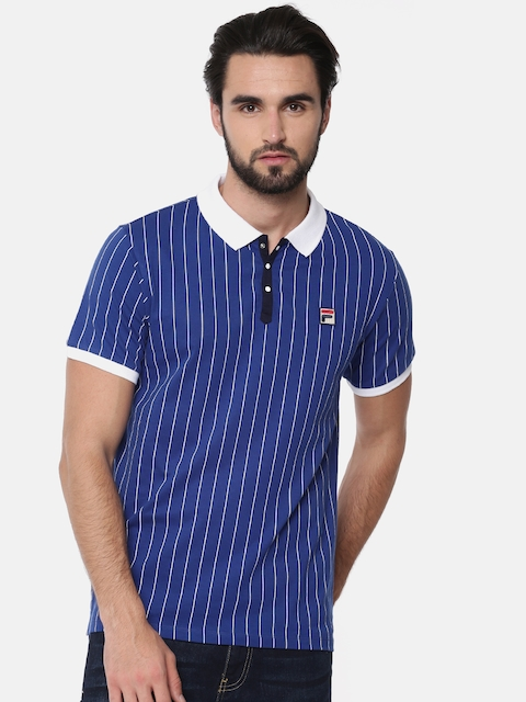 FILA Men Blue& White Striped Polo T-shirt