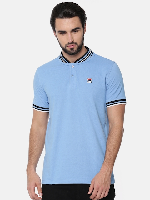 FILA Men Blue Solid Henley Neck T-shirt