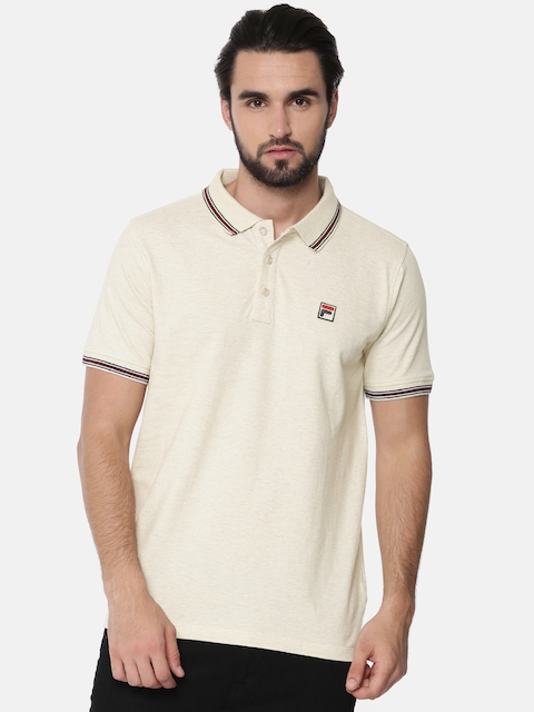 FILA Men Beige Solid Polo T-shirt