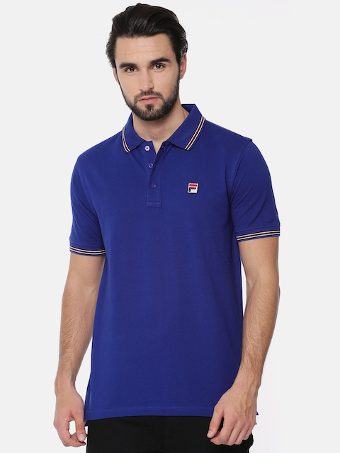 FILA Men Blue Solid Polo T-shirt