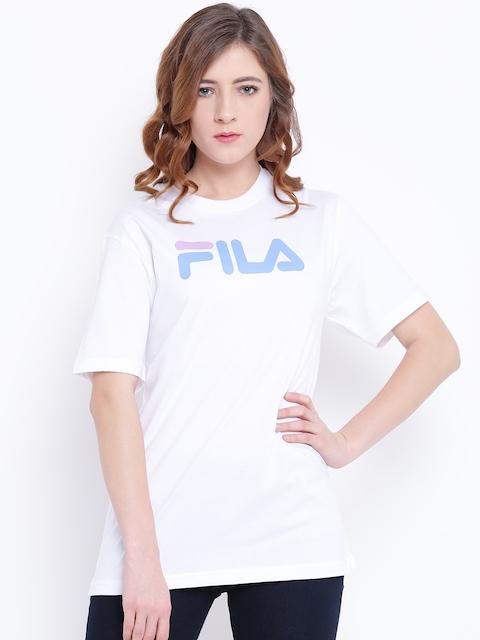 FILA Women White Eagle Brand Print Round Neck T-shirt