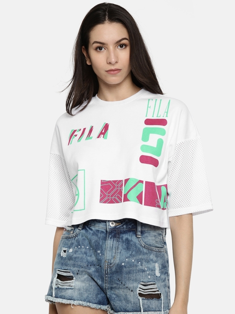 FILA Women White Printed Round Neck T-shirt