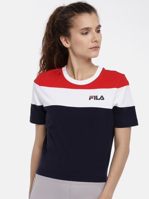 FILA Women Navy & White Colourblocked Round Neck T-shirt