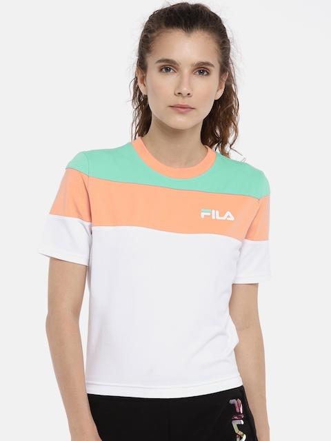 FILA Women White & Peach Colourblocked MAYA Round Neck T-shirt