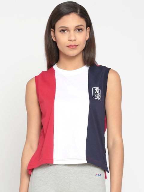 FILA Women Red & White Colourblocked T-shirt