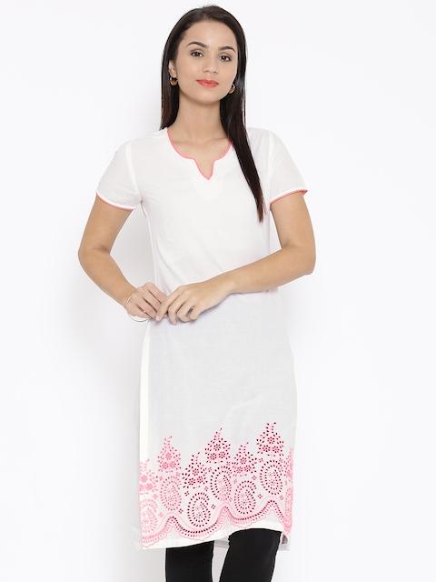 BIBA Women White Embroidered Kurta