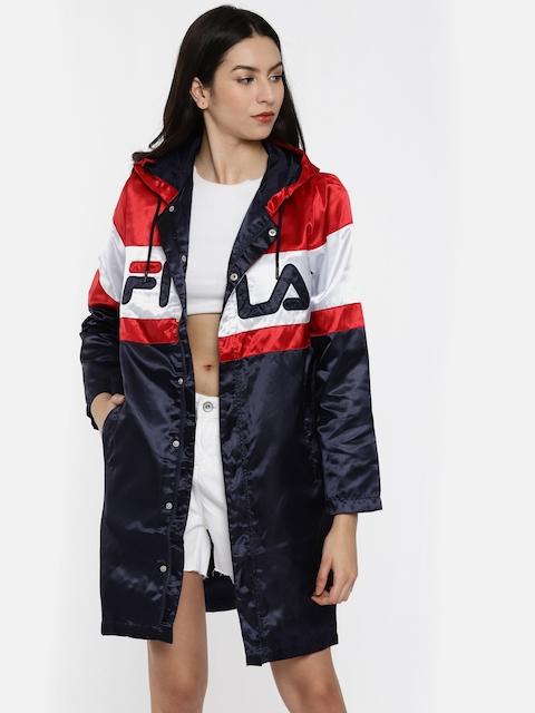 FILA Red & Navy Blue Colourblocked Longline Rain Jacket