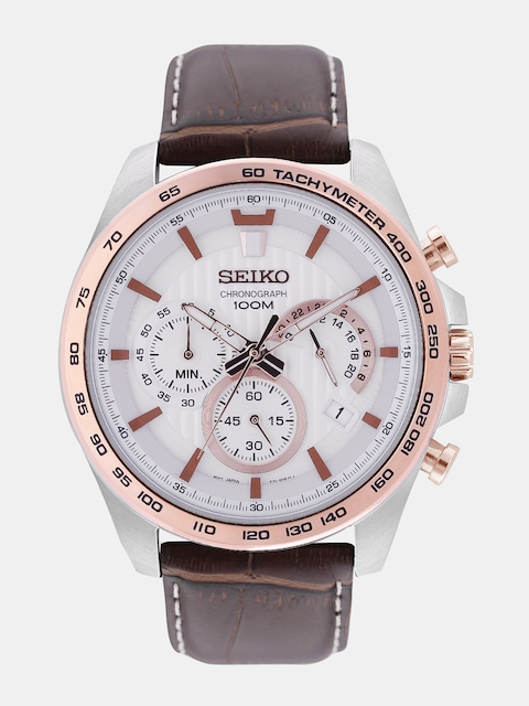 SEIKO Men White Analogue Watch SSB306P1