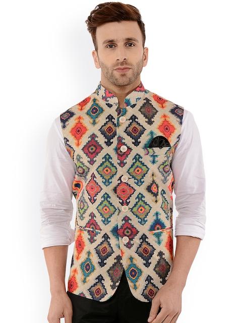 Hangup Men Beige Printed Nehru Jacket