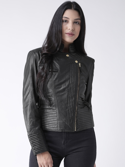 BARESKIN Women Black Solid Lightweight Leather Biker Jacket