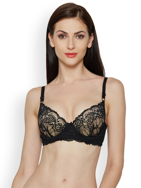 Inner Sense Black Printed Underwired Lightly Padded T-shirt Bra ISB047A