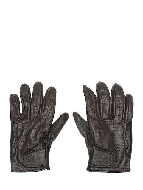 Royal Enfield Men Coffee Brown & Black Summer Riding Leather aGloves