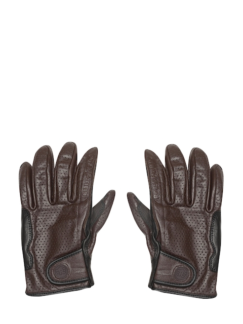 Royal Enfield Men Coffee Brown & Black Summer Riding Gloves