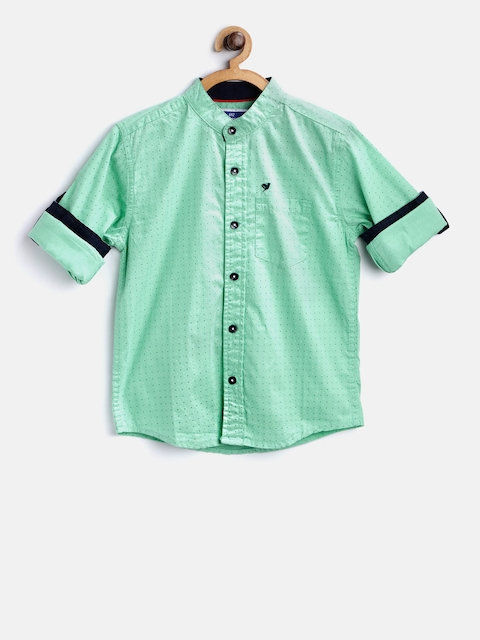 612 league Boys Green Regular Fit Printed Casual Shirt
