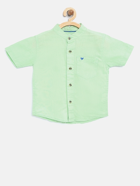 612 league Boys Green Solid Casual Shirt