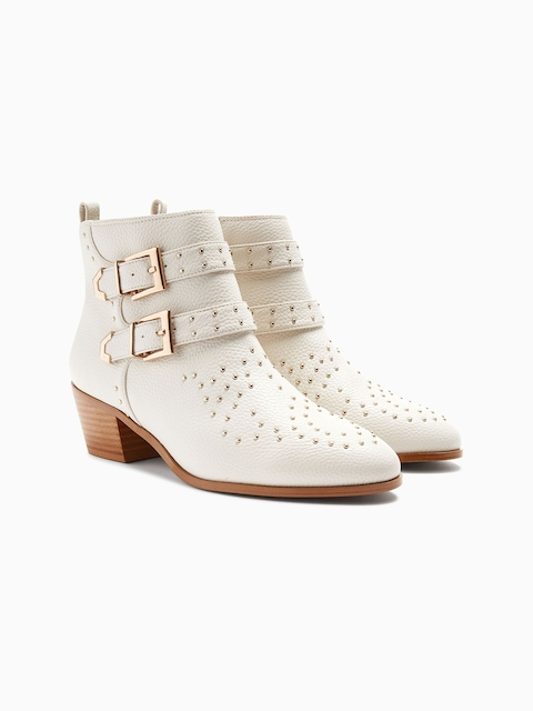 next Women Off-White Solid Leather Heeled Boots