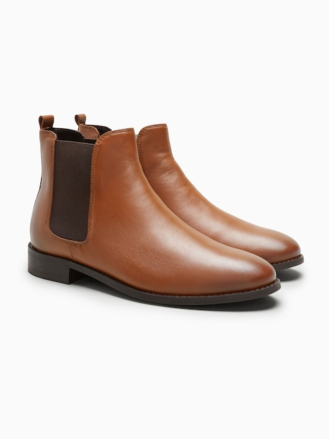 next Women Brown Solid Leather Mid-Top Flat Boots