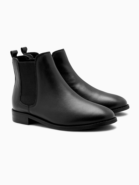 next Women Black Solid Leather Mid-Top Flat Boots
