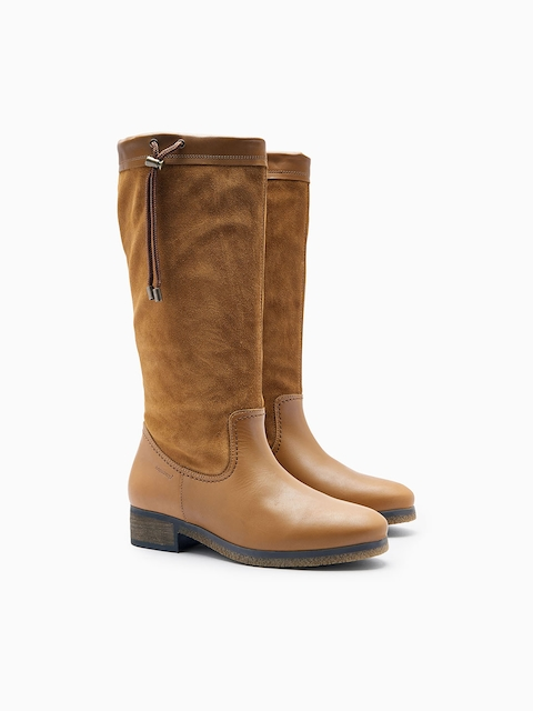 next Women Tan Solid Leather High-Top Flat Boots