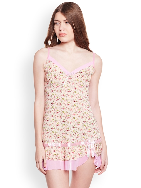 Camey Cream-Coloured Printed Nightdress 2138R8
