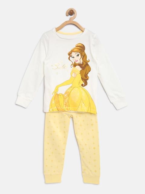 mothercare Girls White & Yellow Printed T-shirt with Pyjamas