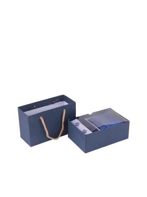 Tossido Mens Blue, Black & White Self Design Accessory Gift Set