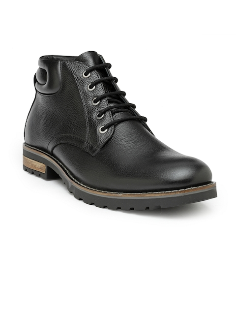 Teakwood Leathers Men Black Solid Leather Mid-Top Flat Boots